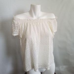 Topshop Off Shoulder Crochet Lace Top